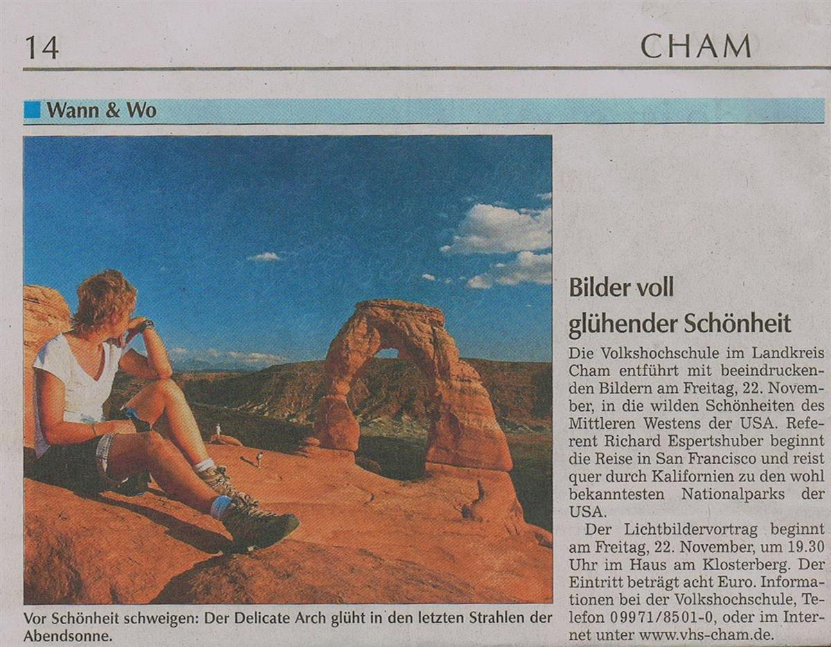 Zeitungsartikel Cham über Vortrag von Richard Espertshuber